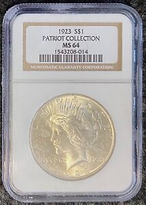 1923 P $1 PEACE DOLLAR NGC SLAB MS 64 PATRIOT COLLECTION