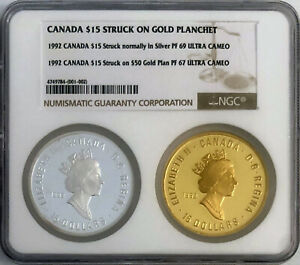 PROOF 1992 CANADA $15 STRUCK OFF METAL ON $50 GOLD PLAN NGC PF 67