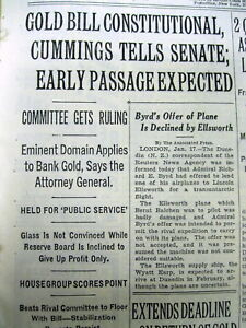 1934 NY TIMES NEWSPAPER NUMISMATICS GOLD COIN POSSESSION ILLEGAL SAYS US GOVMNT