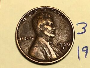 1938 S LINCOLN CENT1C WHEAT PENNY 3128K