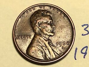 1938 S LINCOLN CENT1C WHEAT PENNY 3124K