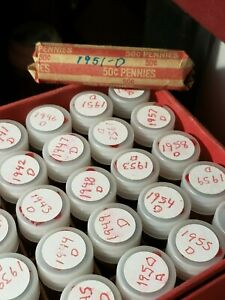 LINCOLN PENNY ROLL   CIRCULATED       1951 D   LOT OF 50 CENTS     2