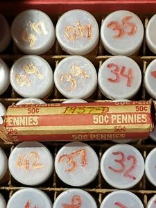 LINCOLN PENNY ROLL   CIRCULATED       1957 D   LOT OF 50 CENTS