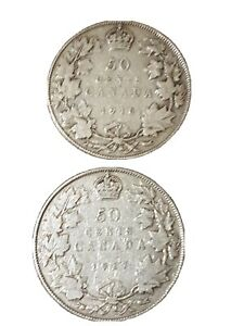 1916/1917 LOT CANADA KING GEORGE V 50 CENTS SILVER WWI WARTIME COINS  2  FINE