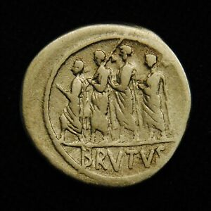 Click now to see the BUY IT NOW Price! AR DENARIUS M JUNIUS BRUTUS LIBERTAS RV BRVTVS L JUNIUS BRUTUS 3.66 G 19MM 54 BC