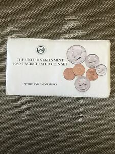 1989 UNITED STATES MINT UNCIRCULATED 10 COINS SEALED SET 2 KENNDY ORIGINAL PACK