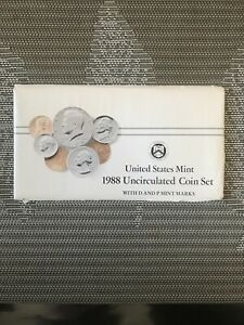 1988 UNITED STATES MINT UNCIRCULATED 10 COINS SEALED SET 2 KENNDY ORIGINAL PACK