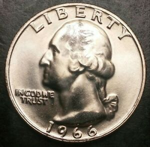 1966 WASHINGTON QUARTER S.M.S. PROOF LIKE UNCIRCULATED GREAT LUSTER   LOOK