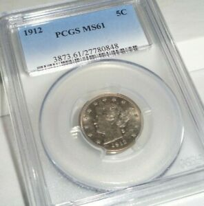 1912 5C LIBERTY V NICKEL PCGS MS61 US FIVE CENT COIN MINT STATE UNCIRCULATED