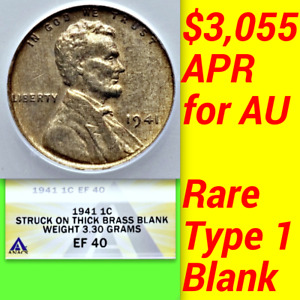 Click now to see the BUY IT NOW Price! 1941 ANACS XF40 THICK BRASS BLANK $3 055 APR AU POSSIBLE PATTERN LINCOLN CENT 1C
