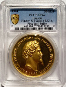 Click now to see the BUY IT NOW Price! UNIQUE 1861 BAVARIA MEDAL GOLD OFF METAL STRIKE WITH MINT ENGRAVING PCGS SP 62