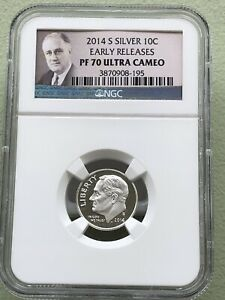 2014 S SILVER NGC PF70 ULTRA CAMEO ROOSEVELT DIME EARLY RELEASES FDR 564 LABEL