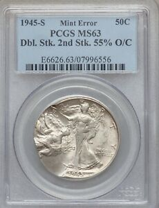 Click now to see the BUY IT NOW Price! 1945 S WALKING LIBERTY HALF DOLLAR DOUBLE STRUCK 55  OFF CENTER PCGS MS 63