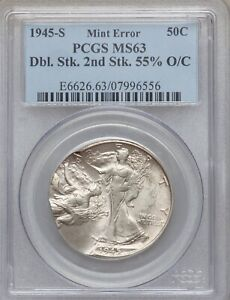 1945 S WALKING LIBERTY HALF DOLLAR DOUBLE STRUCK 55  OFF CENTER PCGS MS 63