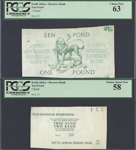 UNIQUE SET OF  3  SOUTH AFRICA CURRENCY TEST PROOFS CERTIFIED BY PCGS