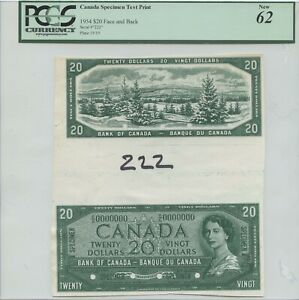UNIQUE CANADIAN 1954 $20 FACE AND BACK SPECIMEN TEST PRINT PCGS