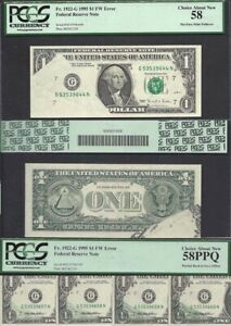 UNIQUE $1 1995  5  U.S. NOTES PRINTED FOLD MATED TO  4  CONSECUTIVE OFFSETS PCGS