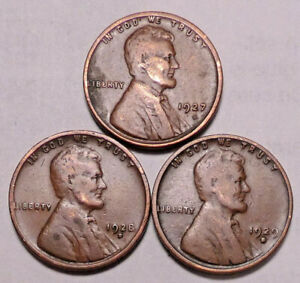 1927 D 1928 D 1929 D  LINCOLN WHEAT CENT PENNY   LOT OF 3 COINS