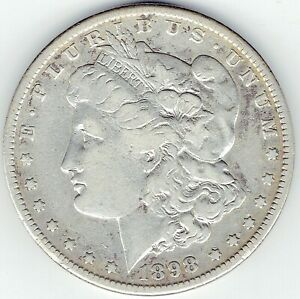 1898 S $1 MORGAN SILVER DOLLAR SEMI KEY FINE