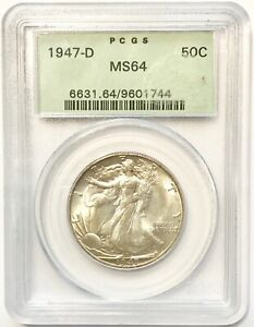 1947 D 50C WALKING LIBERTY HALF DOLLAR PCGS GREEN LABEL SLAB MS 64