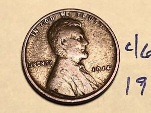 1914 1C BN LINCOLN CENT WHEAT PENNY 4661K
