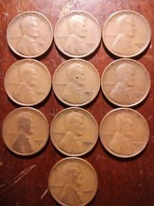 LOT OF  10  1925 D LINCOLN WHEAT CENT