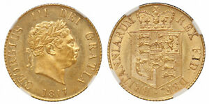 GREAT BRITAIN GEORGE III 1817 GOLD HALF SOVEREIGN NGC MS64 WINGS STERLINA ORO AU