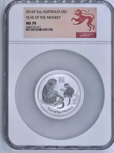 2016 P AUSTRALIA SILVER $2 LUNAR YEAR OF THE MONKEY NGC MS 70