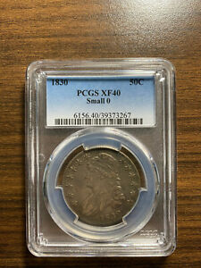 1830 P SMALL 0 O CAPPED BUST SILVER HALF DOLLAR 50C PCGS EXTRA FINE 40 XF 40