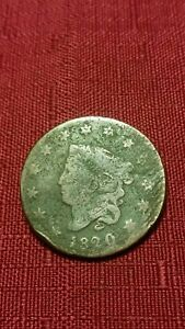 1820 1C CORONET HEAD LARGE CENT SMALL DATE