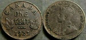 1923 CANADA ONE CENT COIN  CLEANED
