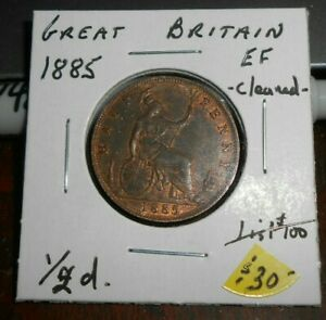 GREAT BRITAIN 1885 HALF  PENNY HIGH GRADE COIN COIN HAS BEEN CLEANED