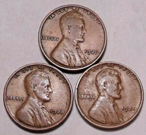 1926 P 1928 P 1929 P  LINCOLN WHEAT CENT PENNY   3 COINS