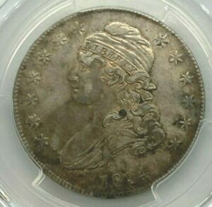 1834 SMALL DATE & LETTERS PCGS AU55 CAPPED BUST HALF DOLLAR 50C