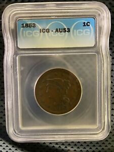 1853 BRAIDED HAIR LARGE CENT AU ICG