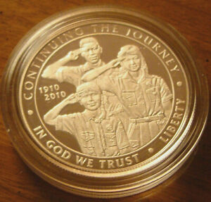 2010 P BOY SCOUTS OF AMERICA PROOF CENTENNIAL UNCIRCULATED SILVER DOLLAR