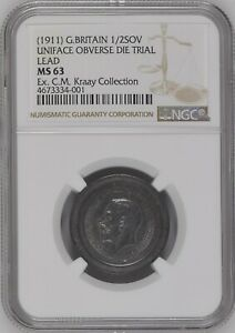 UNIQUE 1911 GREAT BRITAIN  SOVEREIGN UNIFACE OBVERSE DIE TRIAL IN LEAD NGC MS63