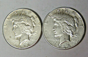 LOT OF 2 SAN FRANCISCO MINT PEACE SILVER DOLLARS 1922 S 1923 S CIRCULATED
