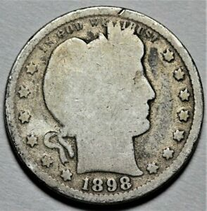 1898 O BARBER QUARTER  >> US SILVER 25C COIN <<  FLAT RATE SHIPPING   LOT 620