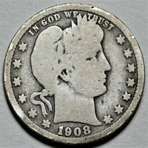 1908 O BARBER QUARTER  >> US SILVER 25C COIN <<  FLAT RATE SHIPPING   LOT 620