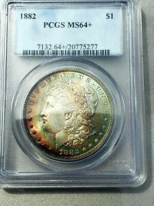 1882 P SILVER MORGAN DOLLAR 2 SIDED TONING PCGS 64  TEXTILE BEAUTY