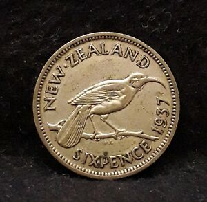 1937 NEW ZEALAND SILVER 6 PENCE GEORGE VI FIRST CORONATION YEAR KM 8  NZ2