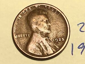 1925 S 1C BN LINCOLN CENT WHEAT PENNY 2950K