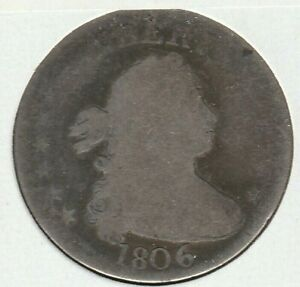1806 ABOUT GOOD AG DRAPED BUST US SILVER QUARTER 25C