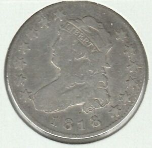 1818 GOOD VG CAPPED BUST US SILVER QUARTER 25C