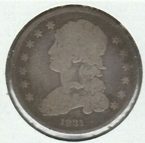 1831 SMALL LETTERS GOOD G CAPPED BUST US SILVER QUARTER 25C