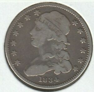 1834 GOOD VG CAPPED BUST US SILVER QUARTER 25C