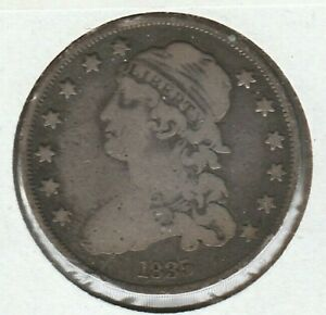 1835 GOOD VG CAPPED BUST US SILVER QUARTER 25C