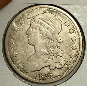 1836 GOOD VG CAPPED BUST US SILVER QUARTER 25C