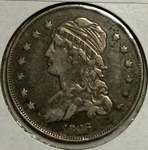 1836 FINE VF CAPPED BUST US SILVER QUARTER 25C